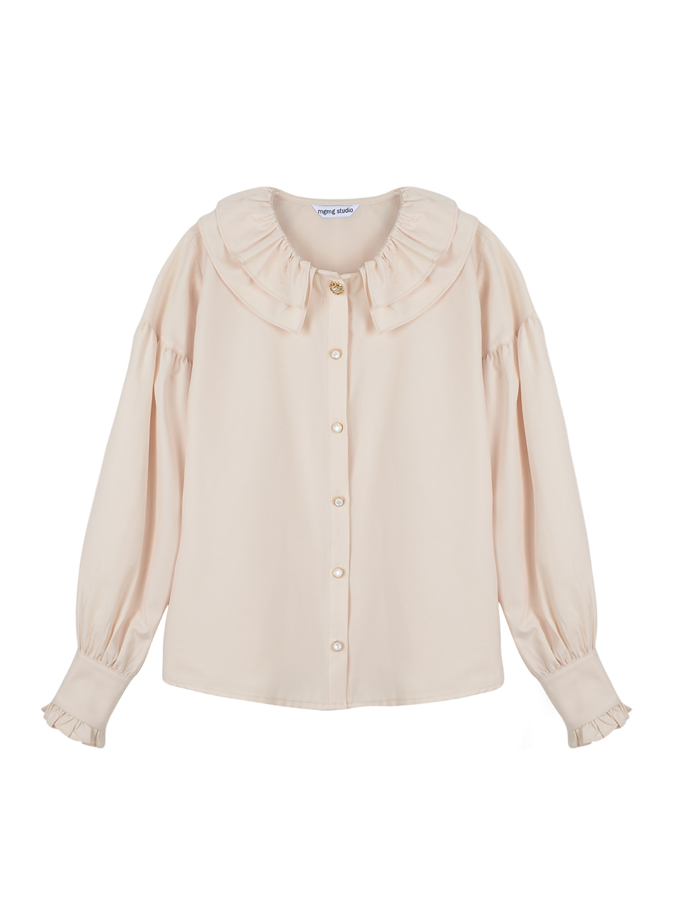 Neck ruffle blouse_ivory