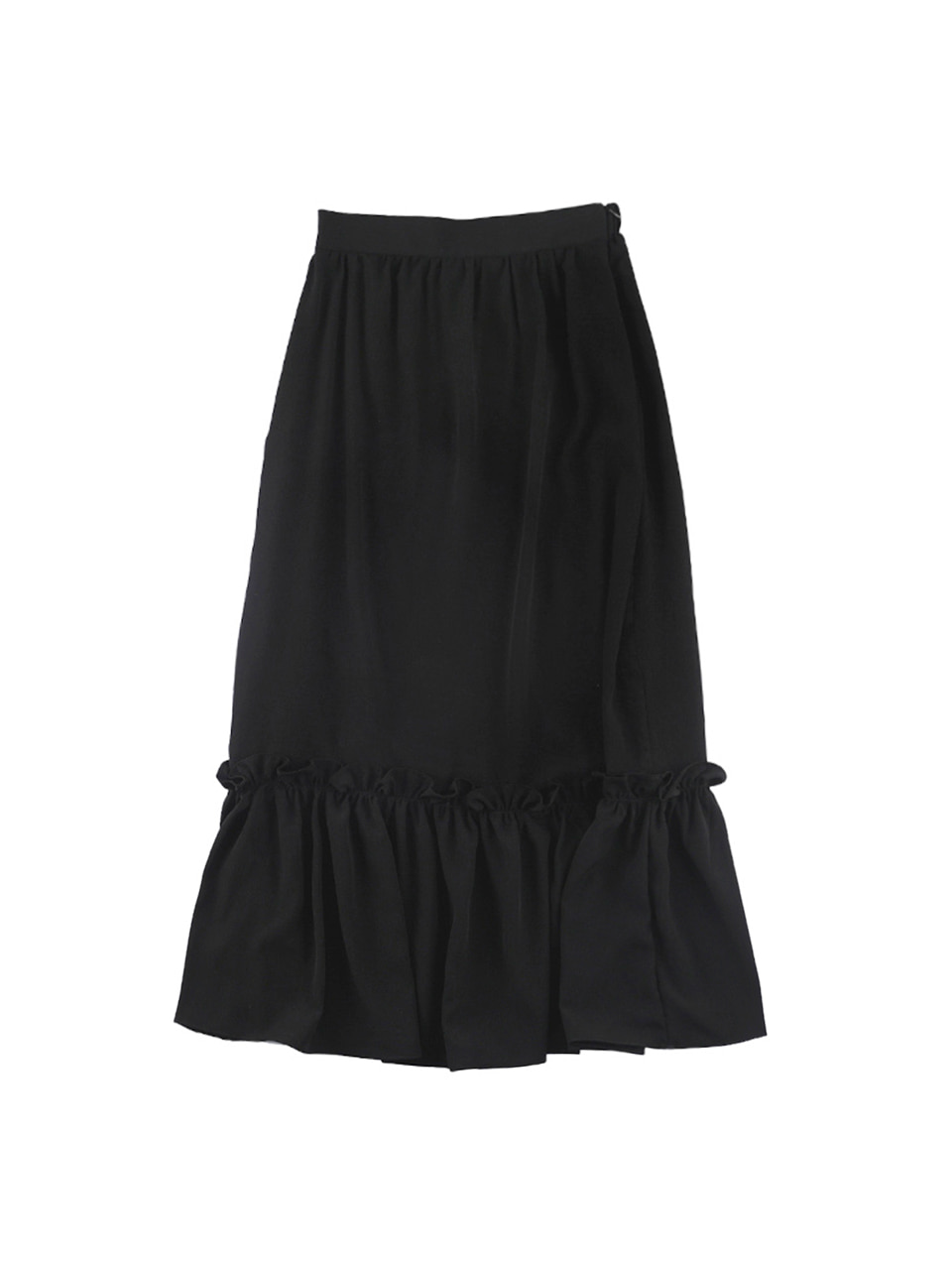 mgmg ruffle long skirt_black
