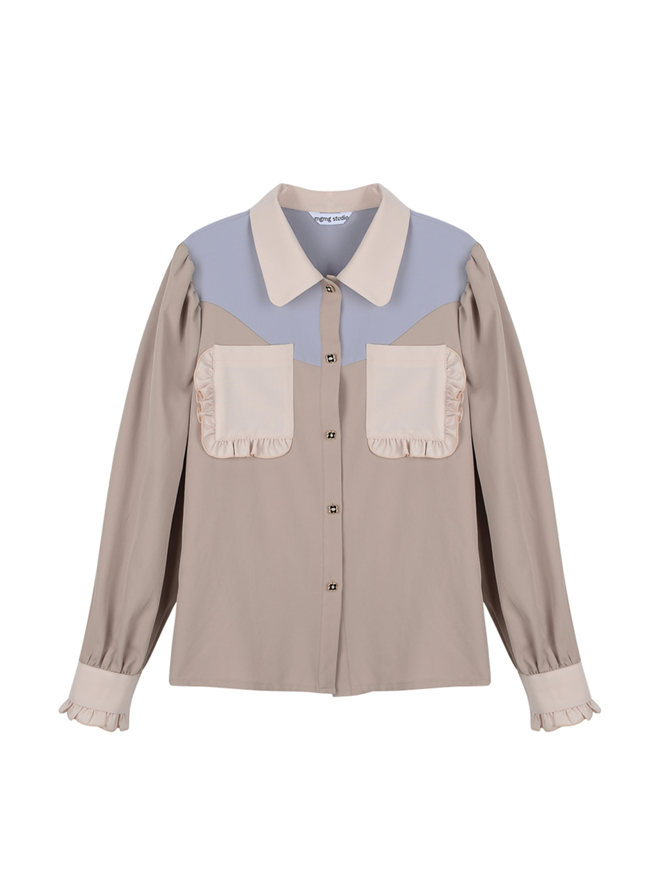 Pocket ruffle blouse_beige