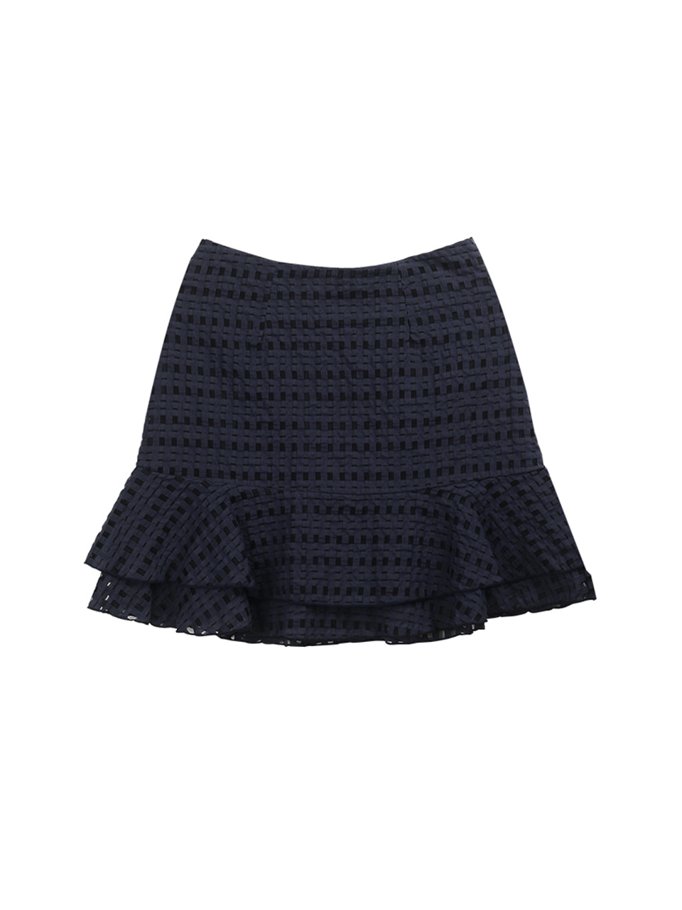 Check layered skirt_navy