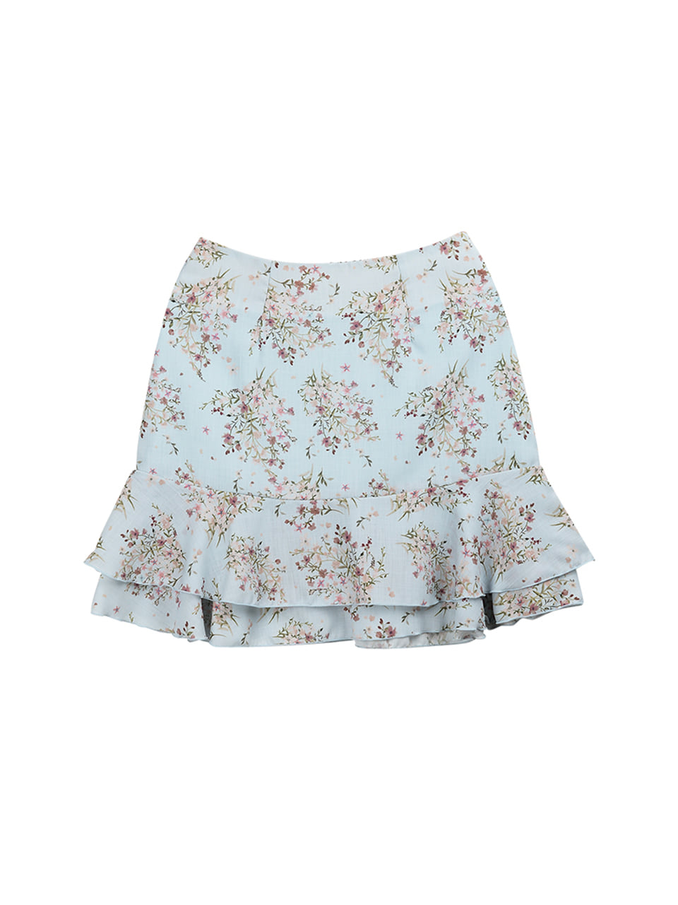 Flower frill layered skirt_skyblue