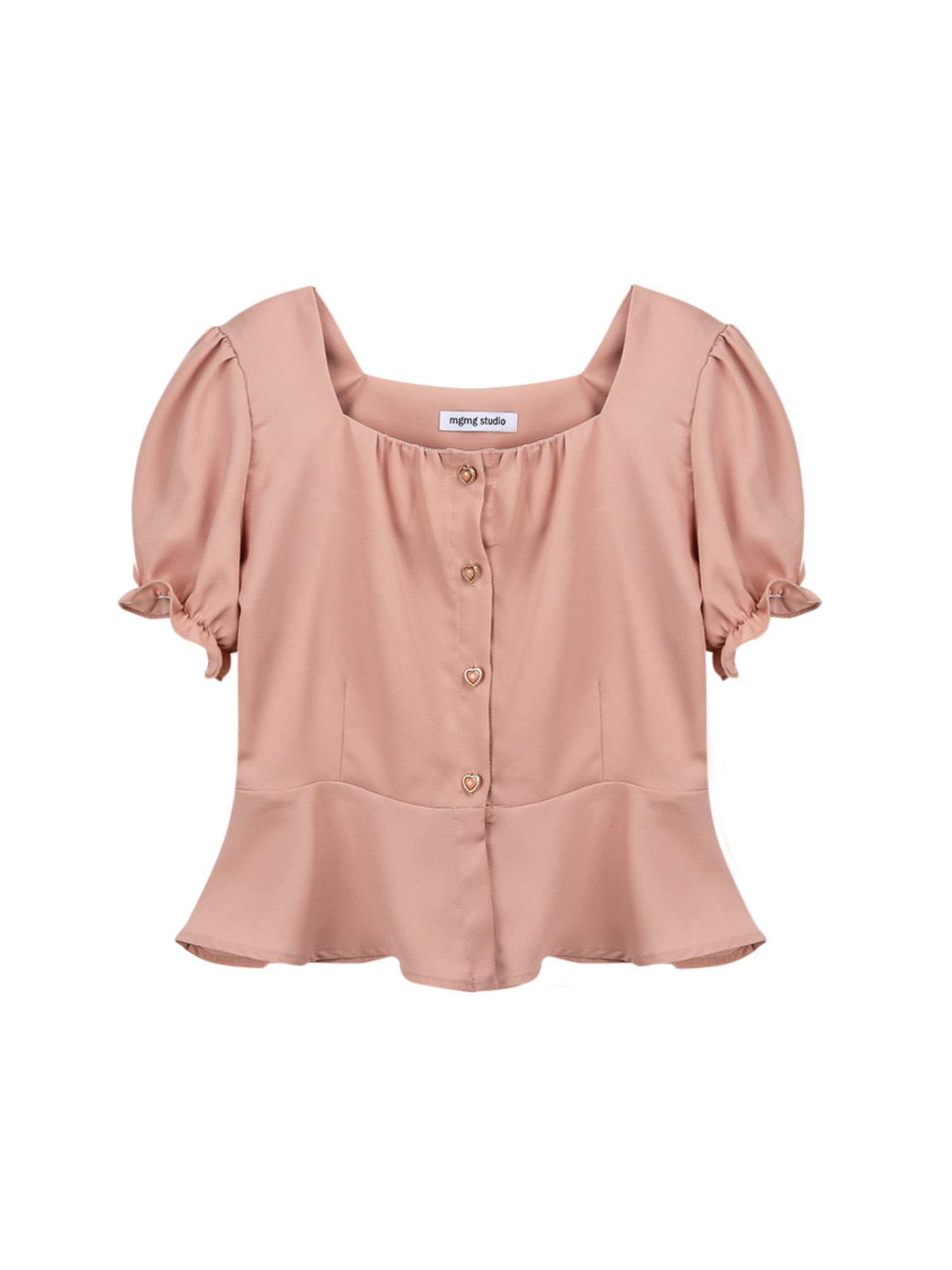 Square neck shirring blouse_apricot