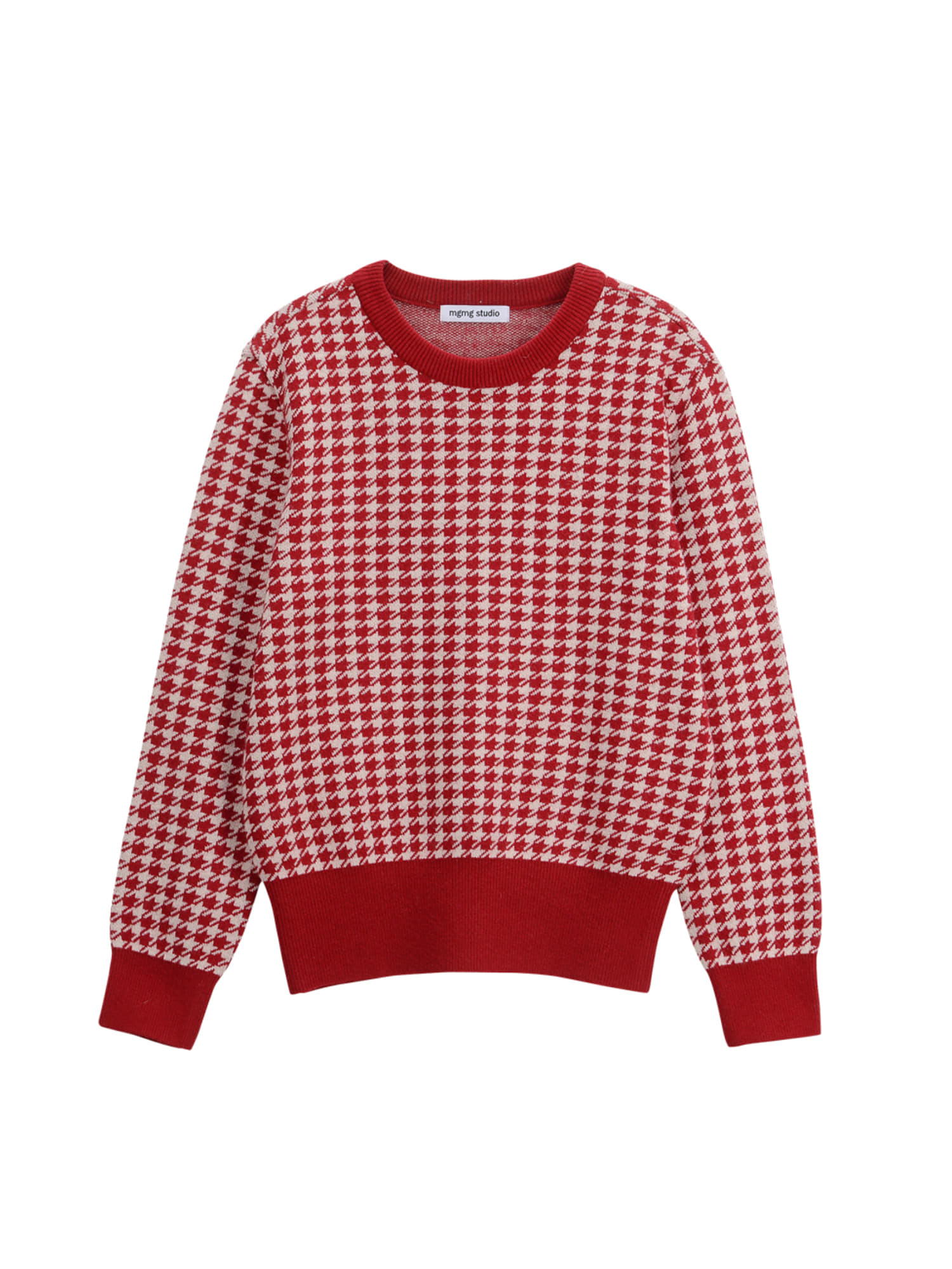 round neck houndtooth knit_wine