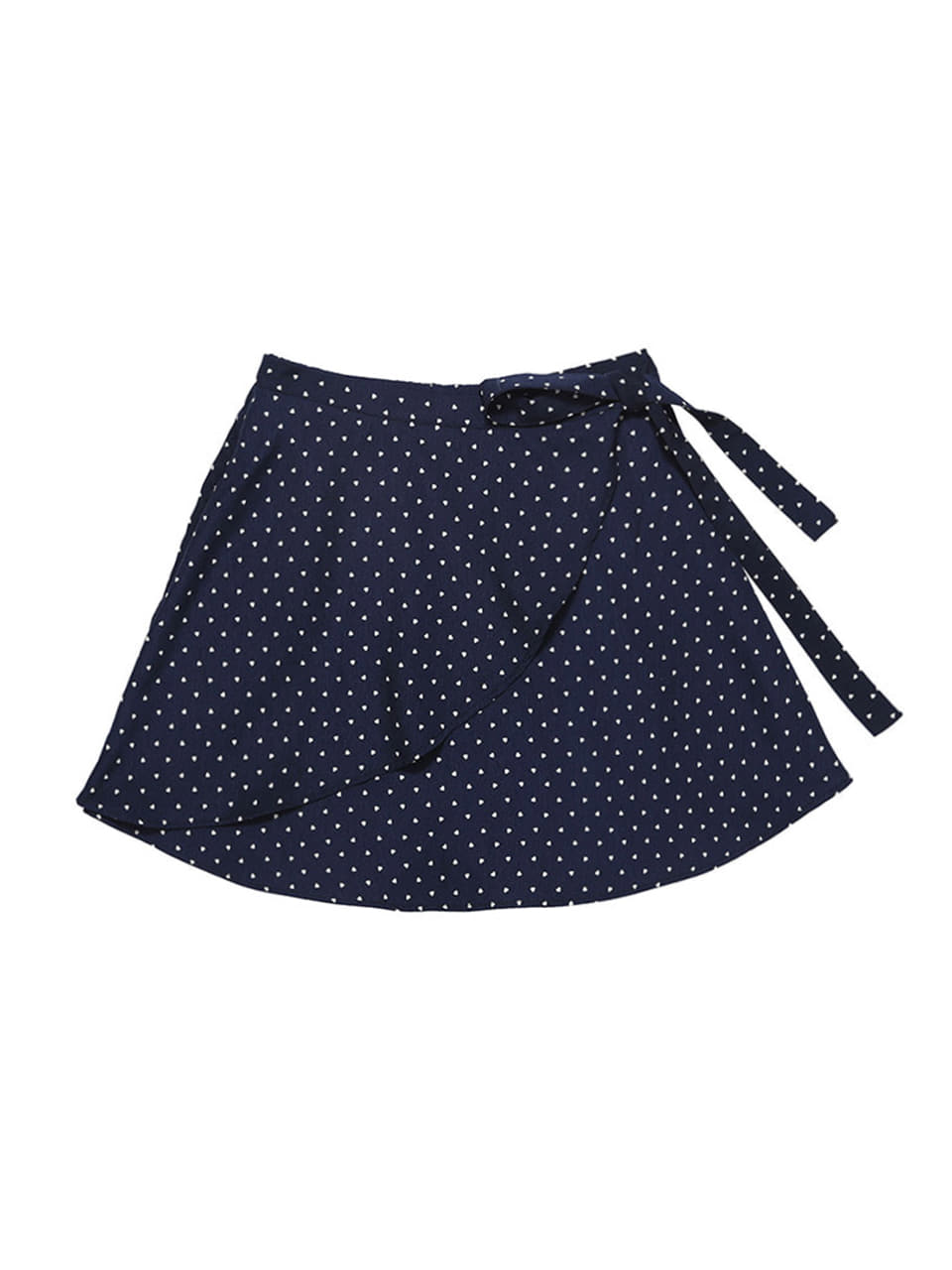 mgmg heart pattern wrap skirt_navy