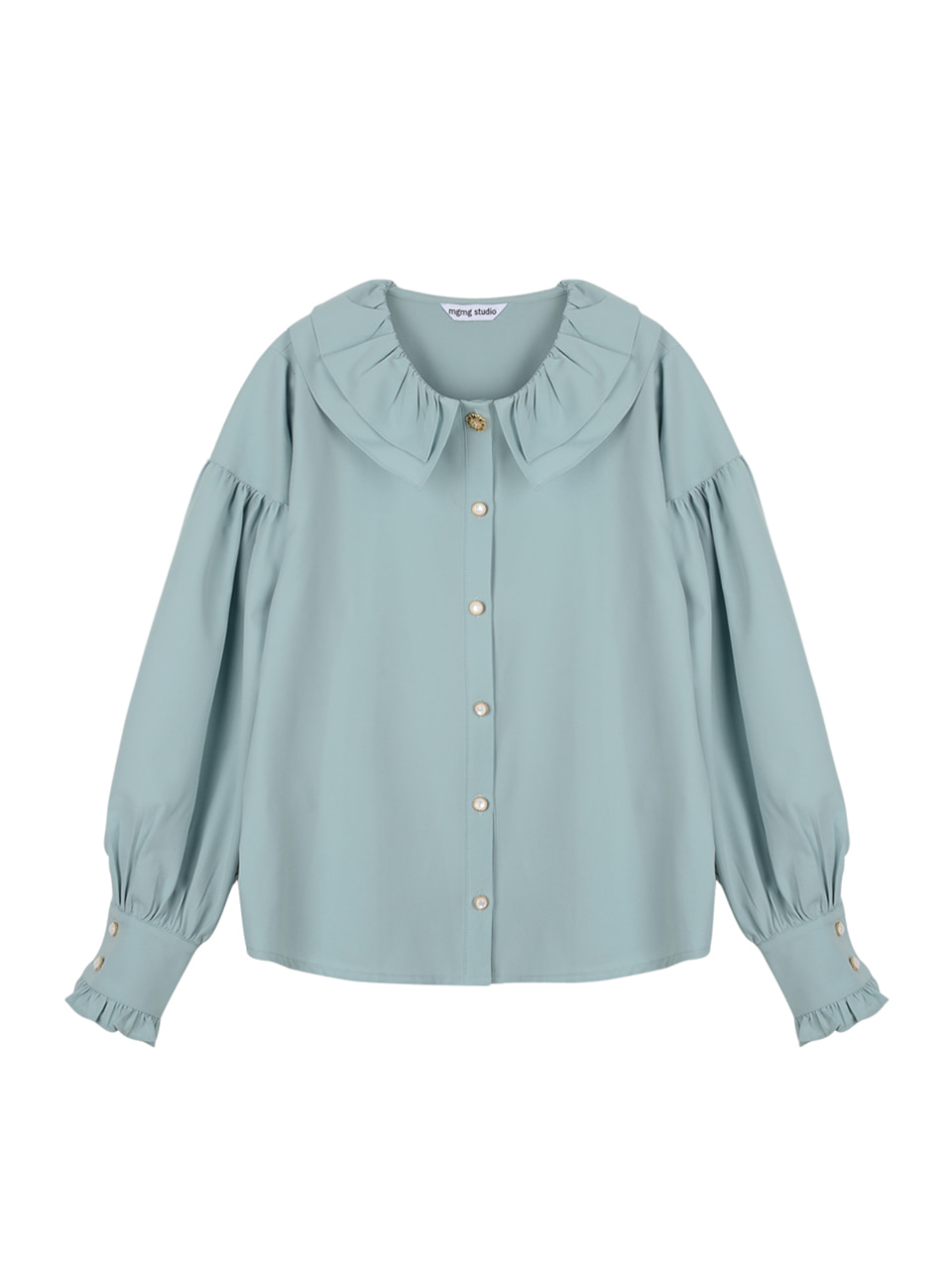Neck ruffle blouse_mint