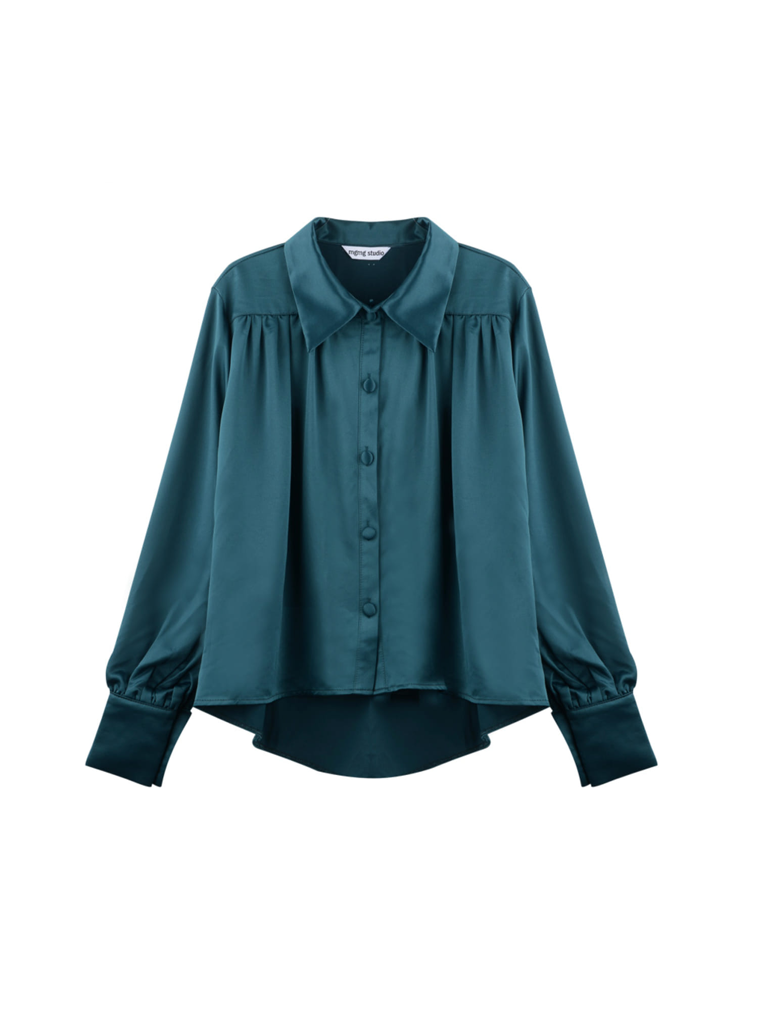 Satin shirring blouse_green