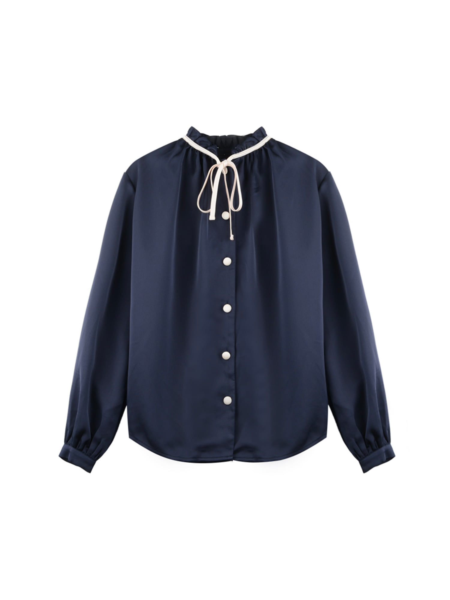 Neck shirring blouse_navy