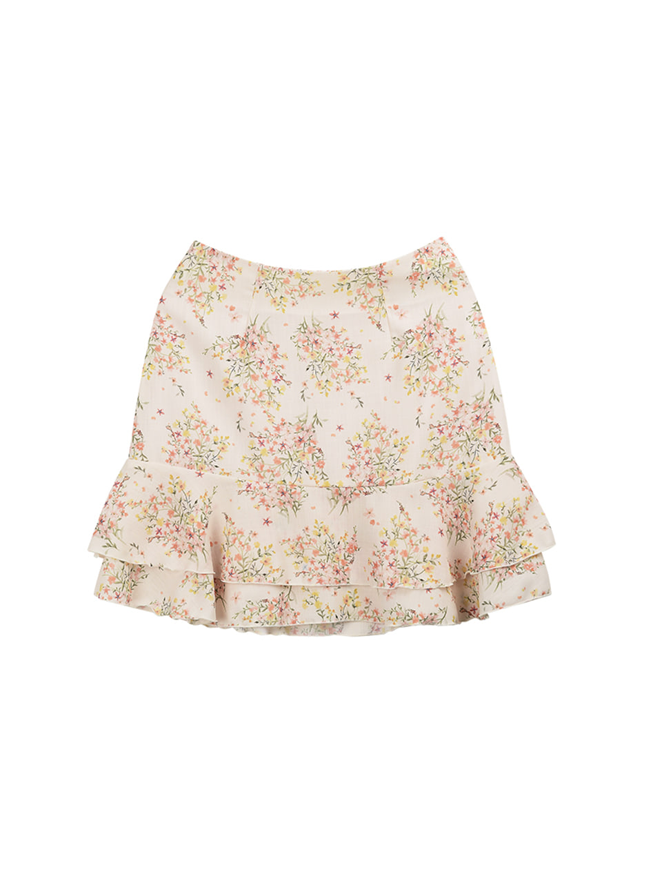 Flower frill layered skirt_apricot