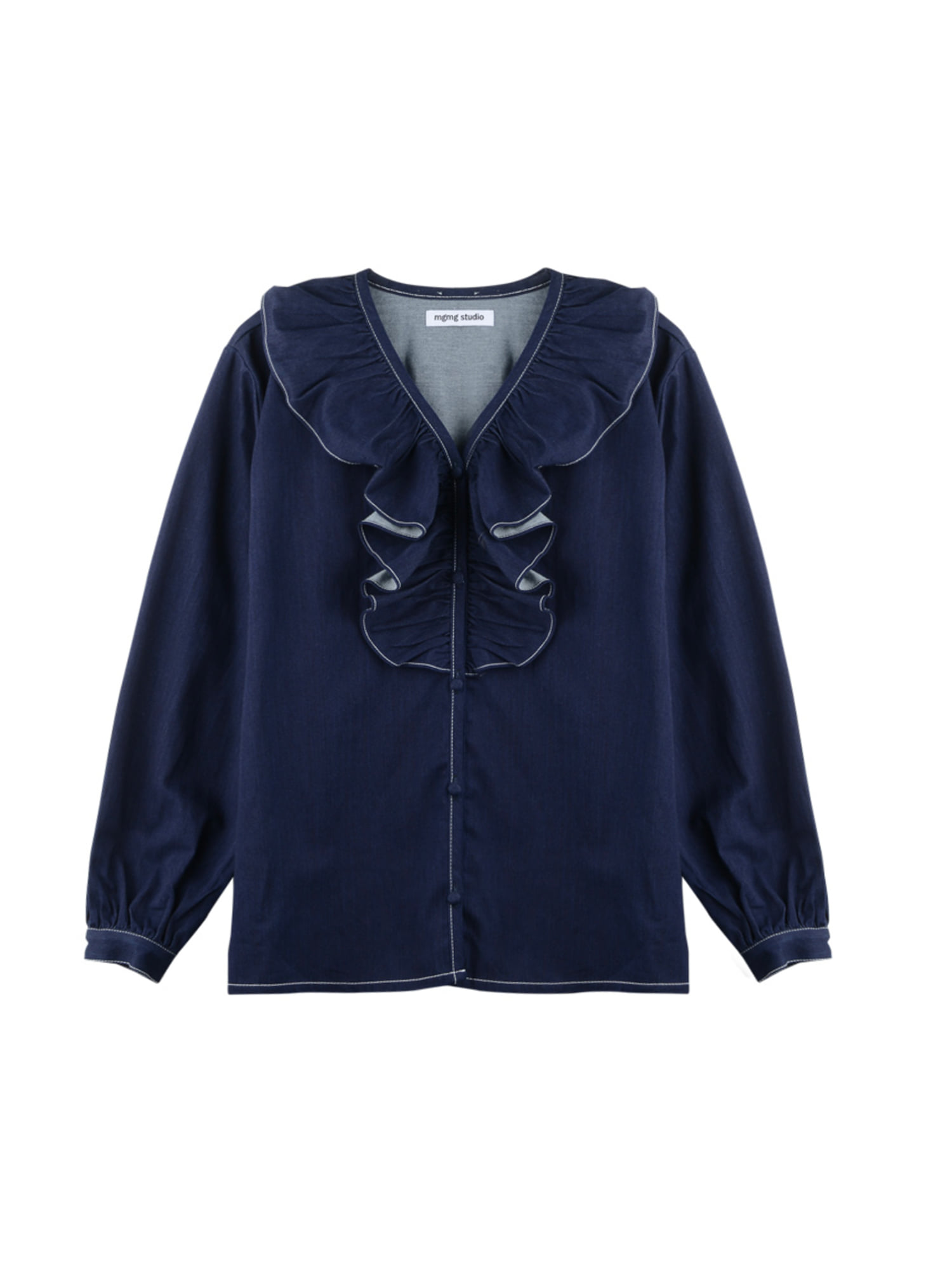 Denim ruffle blouse_deep blue