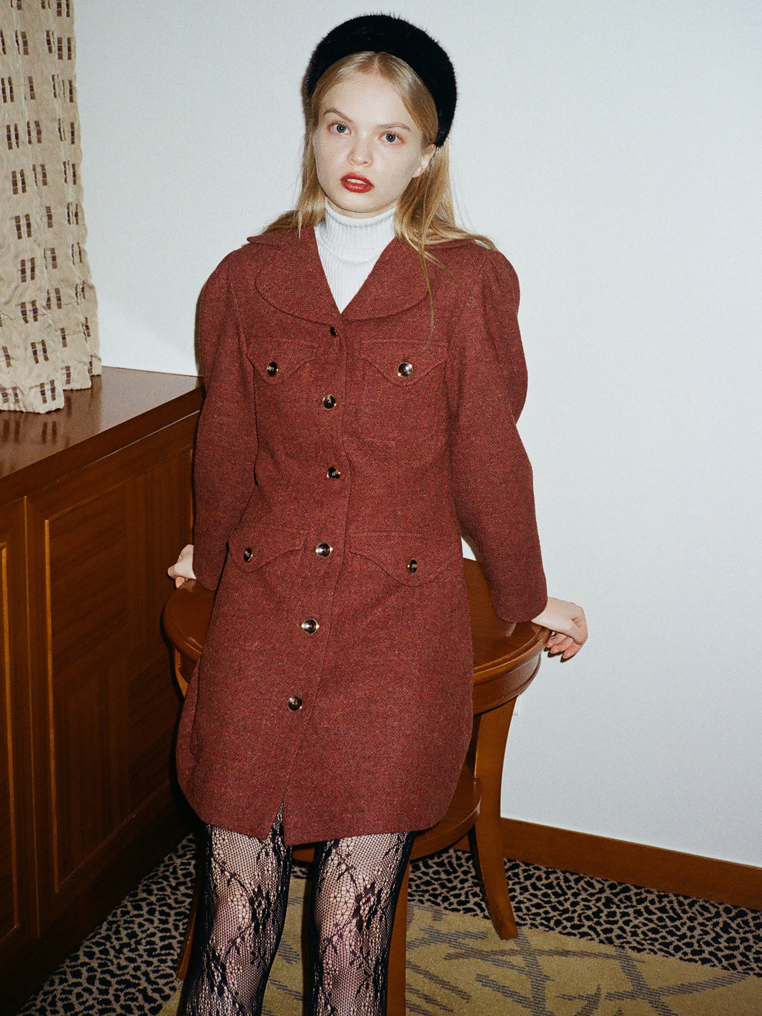 melange wool pocket one-piece_wine