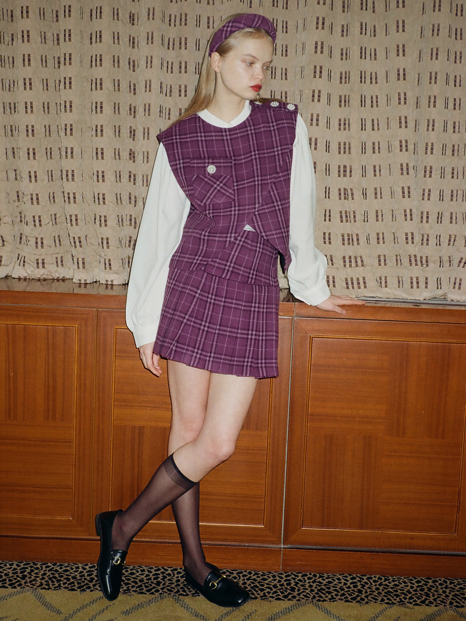 check pleats skirt_purple