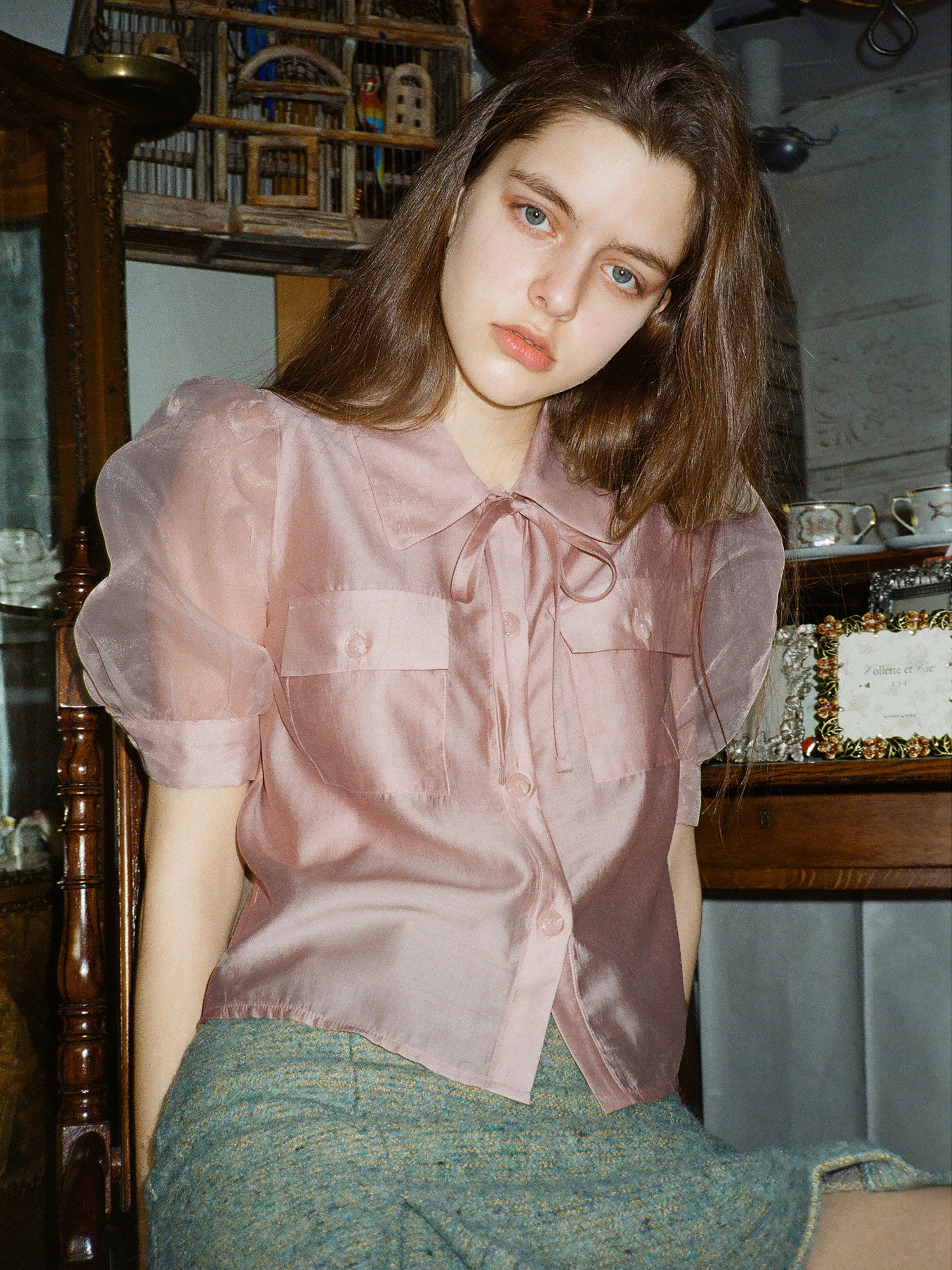 [2차 4/2일 발송] mgmg pocket ribbon blouse_apricot